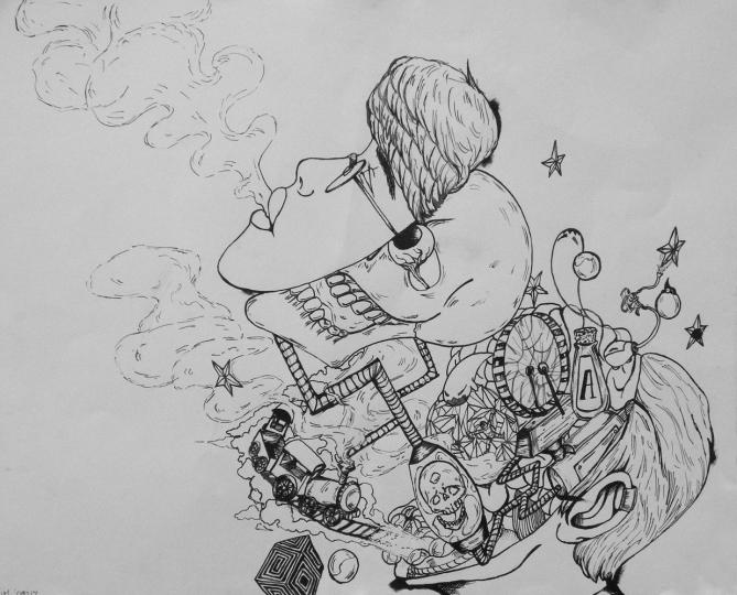 11, pen & ink